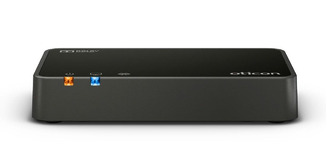 TV-Adapter für moderne Hörgeräte, in diesem Fall ein Modell von Oticon